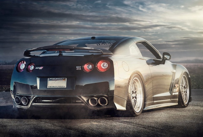 Nissan, GT-R, Car, Alpha, R35, black, rear