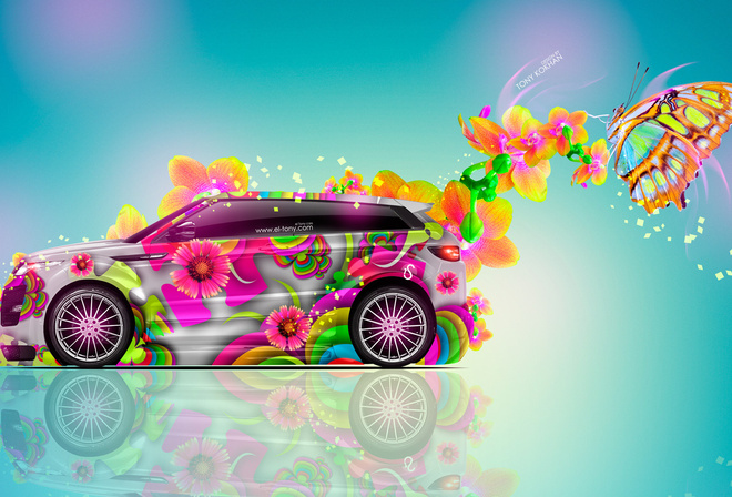 Tony Kokhan, Land Rover, Evoque, Side, Fantasy, Flowers, Multicolors, Aerography, Blue, Pink, Yellow, Neon, el Tony Cars, Design, Art, Style, HD Wallpapers, Crossover, Тони Кохан, Фотошоп, Арт, Стиль, Лэнд Ровер, Эвок, Кроссовер, Вид Сбоку, Разноцветная,
