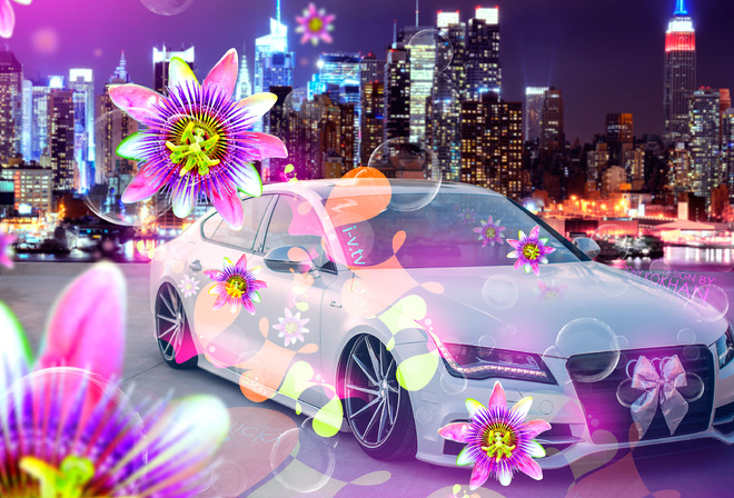 Tony Kokhan, Audi, A7, Tuning, el Tony Cars, Creative, 4K, Wallpapers, Design, Art, Style, Glamour, Ino Vision, TV, City, Flowers, Effects, Multicolors, Pink, Neon, Auto, Photoshop, March 8, Holiday, For, Girls, Bubble, Night, Тони Кохан, Фотошоп, Ауди, А
