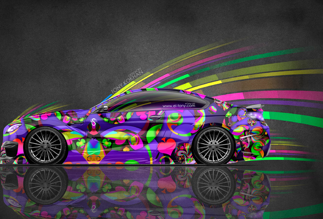 Tony Kokhan, BMW, M6, Hamann, Tuning, Side, Super, Abstract, Aerography, Multicolors, Effects, Speed, Vinyl, 4K, Wallpapers, el Tony Cars, Design, Art, Style, Photoshop, Тони Кохан, Фотошоп, БМВ, Шестерка, М6, Вид Сбоку, Разноцветная, Машина, Разноцветное