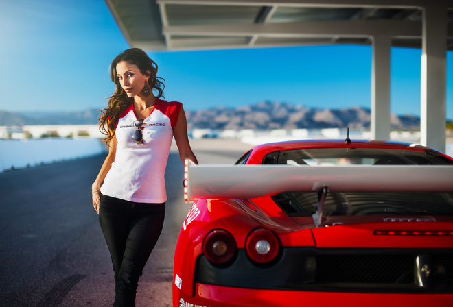 Janice Kakish, Dream, Racing, Model, Girl, Beauty, Supercar, Ferrari, F430, Red