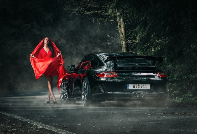 Anne Fritzsche, Model, Beautiful, Red, Porsche, 911, GT3, Dark