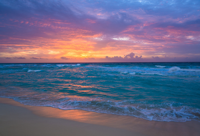 sunrise, Cancun, Mexico, caribbean sea