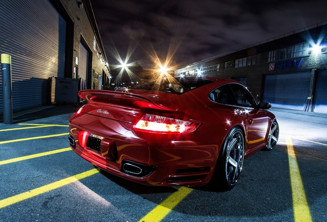 machine, red, Porsche, night, bumper, asphalt