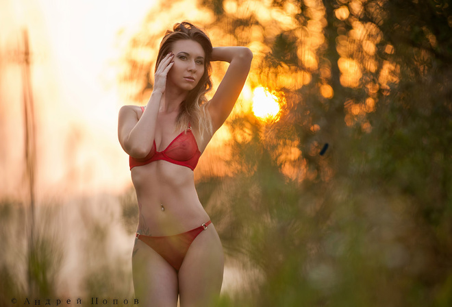 women, model, red lingerie, pierced navel, blonde, portrait, tattoo, flat belly, nipple through clothing, painted nails, hands on head, looking away, Sun, sunset, women outdoors, boobs, nipples