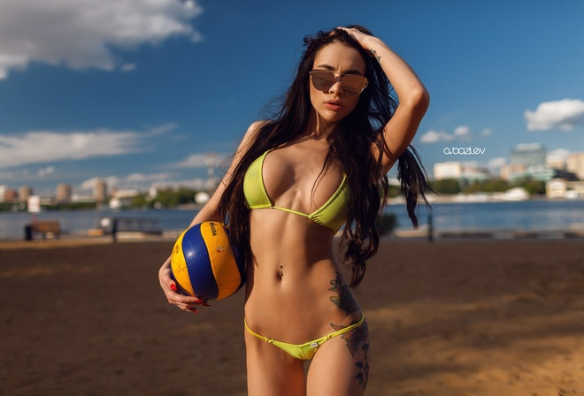 women, bikini, model, black hair, portrait, ball, tattoo, women outdoors, sunglasses, flat belly, hands on head, Alex Bazilev, pierced navel