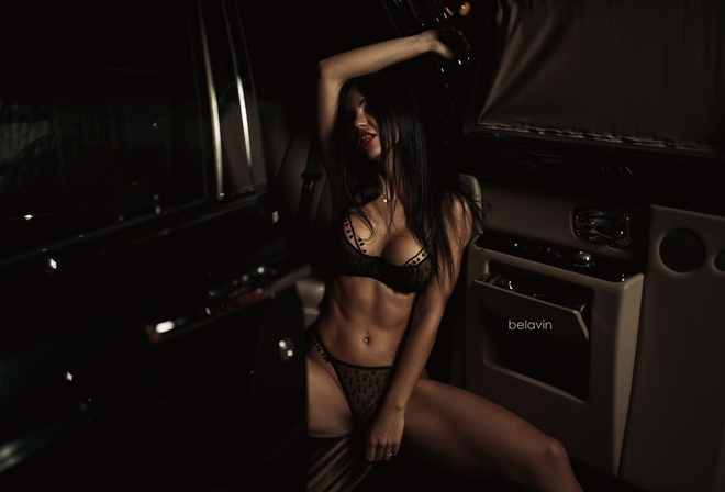 Gayane Bagdasarian, women, model, black hair, pierced navel, arms up, sitting, brunette, black lingerie, women with cars, armpits, long hair, car, bellyr, ed lipstick, see-through panties, nipple through clothing, Alexander Belavin, portrait