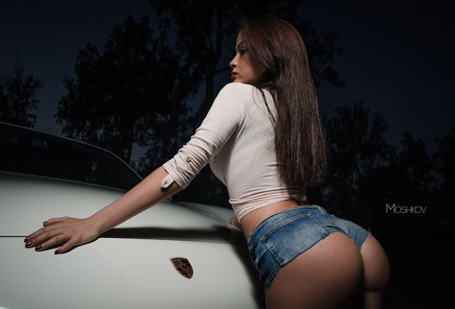 women, brunette, jean shorts, short shorts, night, long hair, car, women outdoors, trees, red nails, ass, portrait, back