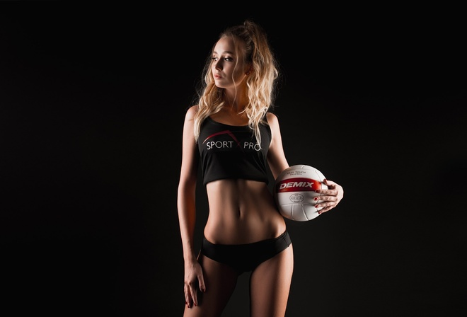 Anastasia Strogantseva, women, looking away, hips, belly, blonde, ball, sportswear, simple background, black background, red nails, brunette, skinny, sports