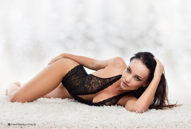 Women Brunette Angelina Petrova Face Black Hair Open Sweater Green Metart 1