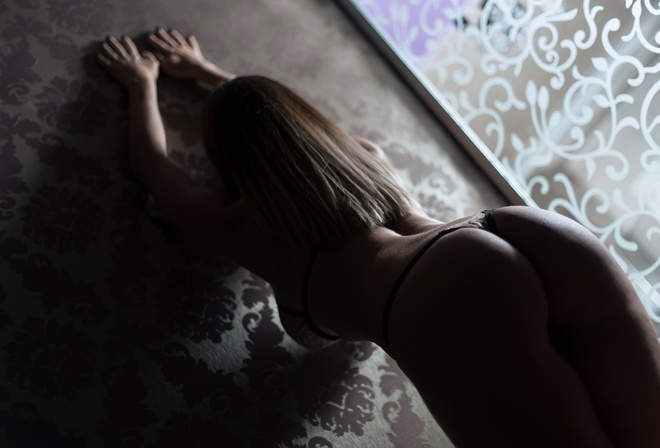 women, ass, brunette, arms up, lingerie, back, rear view, arched back, Anton Vladimirovich