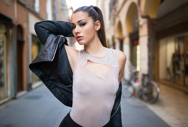women, portrait, women outdoors, ponytail, leather jackets, hands on head, armpits, eyeliner