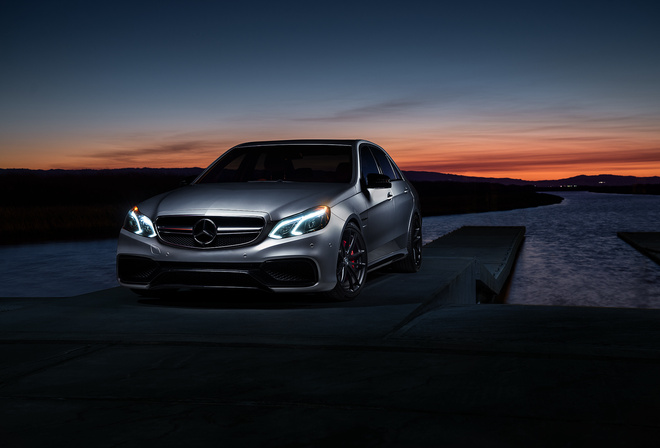 Mercedes-benz, e63, amg s, mode, carbon, sonic, motorsport, sunset, matte, grey, car