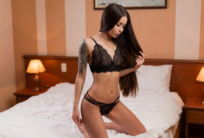 Anastasia Bystraya, women, long hair, tanned, black lingerie, kneeling, in bed, tattoo, belly, necklace, see-through clothing