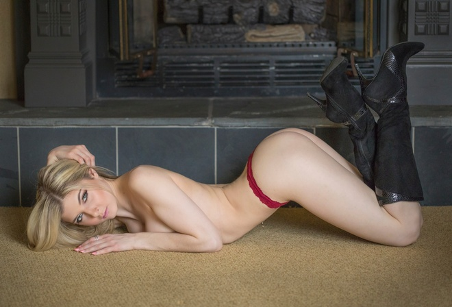 Alyssa Caruso, women, blonde, bent over, knee-high boots, topless, red panties, arched back, pierced navel, on the floor