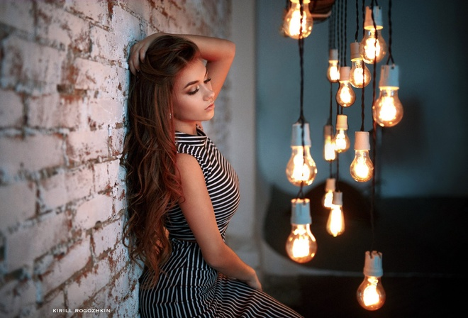 women, dress, portrait, wall, light bulb, bricks, closed eyes