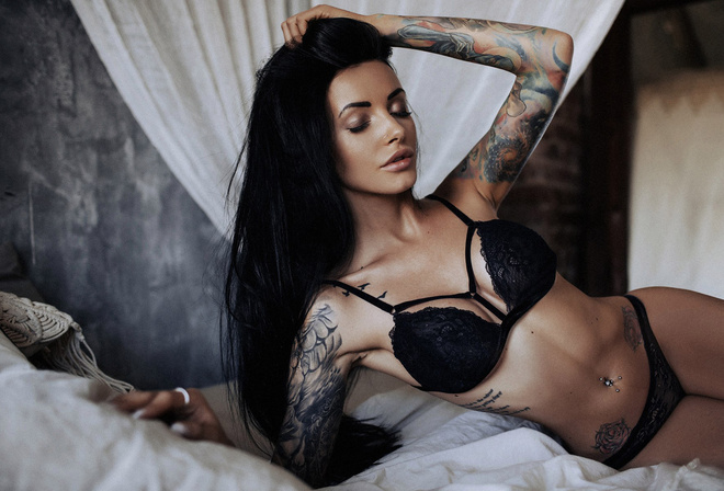 women, tanned, tattoo, black lingerie, in bed, belly, pierced navel, closed eyes, black hair