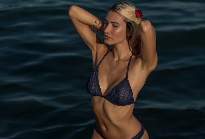 women, tanned, blonde, blue bikinis, belly, armpits, sea, women outdoors, necklace, water drops, see-through clothing