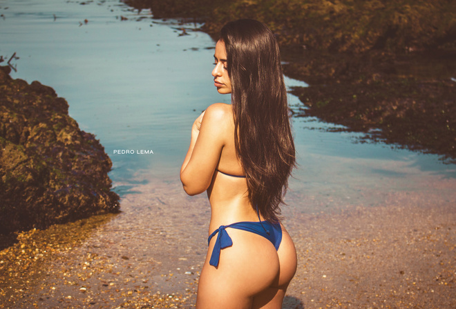 women, blue bikinis, tanned, ass, water, long hair, back, women outdoors