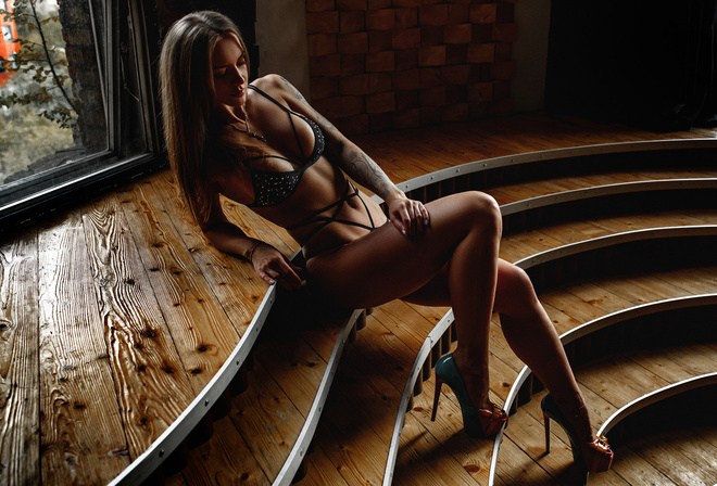 women, tanned, Artem Savinkov, high heels, black lingerie, tattoo, sitting, belly