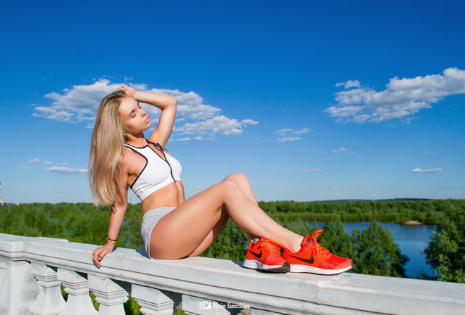 women, blonde, ass, sitting, closed eyes, sportswear, sneakers, Nike, brunette, sky, clouds, river, women outdoors, Anastasia Ashaeva