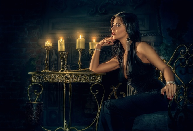 fireplace, decoration, manicure, girl, candles, makeup