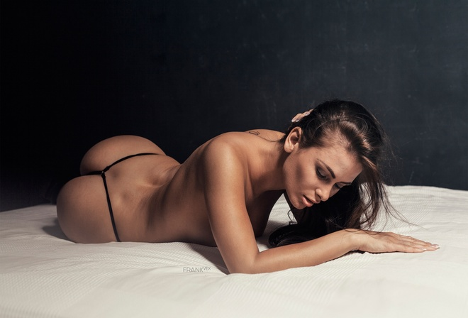 pose, lies, Nude, sexy, figure, on the bed, hairstyle, makeup, brunette, panties, ass, chest, model