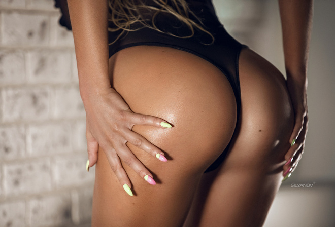 women, ass, tanned, body lingerie, black lingerie, painted nails