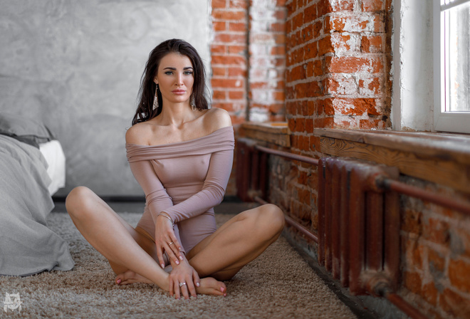 women, Mihail Gerasimov, sitting, window, bricks, nipple through clothing, bare shoulders, pink nails, bed