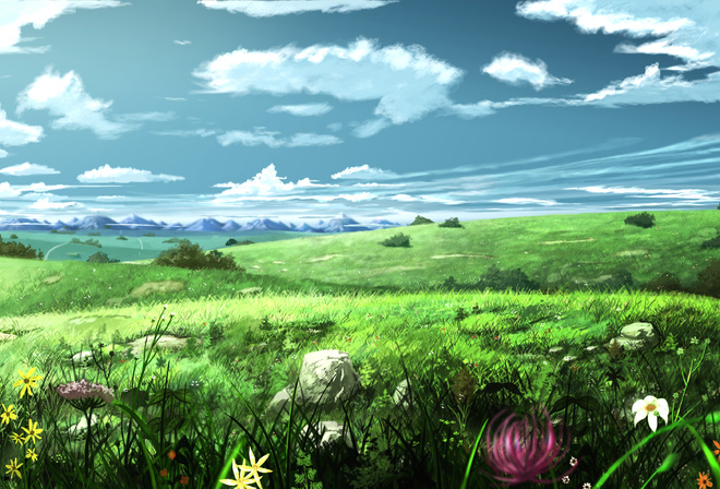 flowers, soyokaze, the sky, art, meadow, painting, landscape