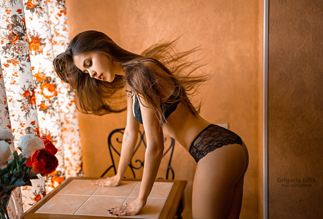 women, Grigoriy Lifin, ass, tanned, black lingerie, painted nails, rose, table, chair