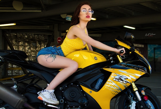 women, sneakers, brunette, women with motorcycles, jean shorts, portrait, sitting, women with glasses, long hair