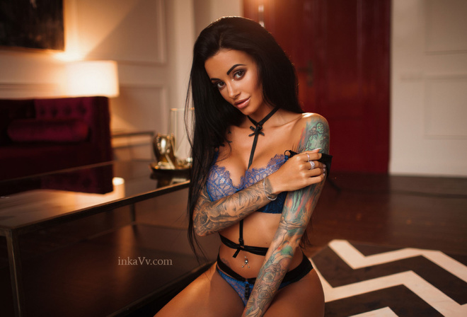 Anna Sajarova, women, portrait, tattoo, tanned, pink lipstick, pierced navel, blue lingerie, black hair, kneeling, lamp, belly, lingerie, see-through clothing