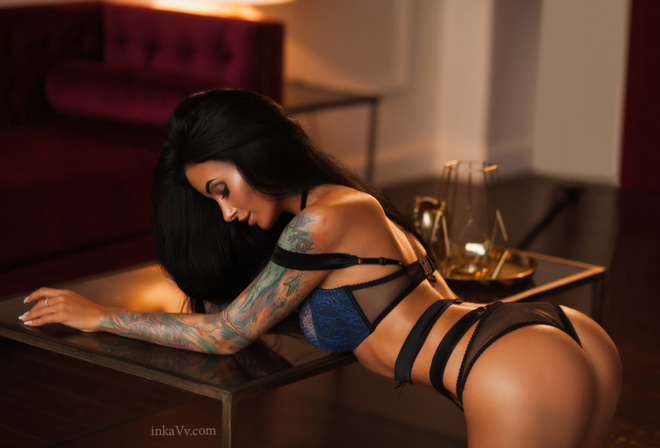 Anna Sajarova, women, portrait, tattoo, tanned, ass, pink lipstick, blue lingerie, black hair, kneeling, lamp, lingerie, see-through clothing