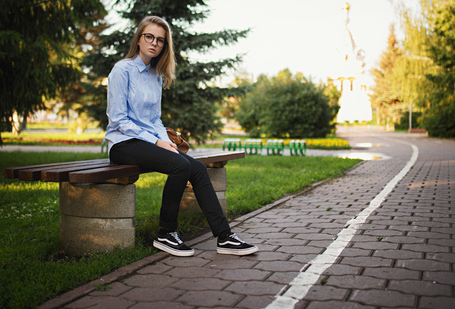 Kseniya Koval, women, benchs, neakers, Sergey Fat, jeans, women outdoors, women with glasses, shirt, park, sitting
