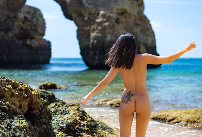 Women Tanned Ass Sand Sea Back Tattoo 21sextury 1