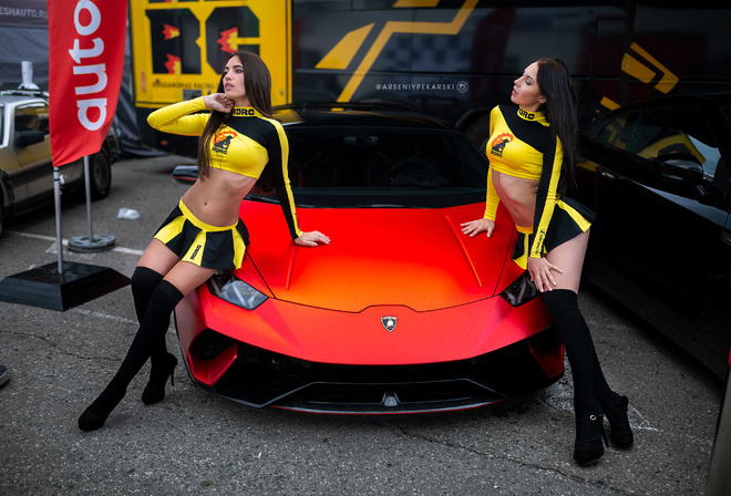women, Lamborghini, belly, tanned, black stockings, long hair, ribs, miniskirt, two women, women with cars, high heels, pink nails, ass