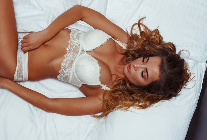 women, tanned, in bed, belly, white lingerie, lying on back