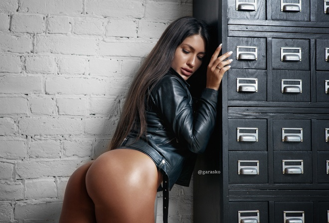 women, Pavel Garasko, tanned, wall, bricks, ass, portrait, leather jackets, black panties, long hair