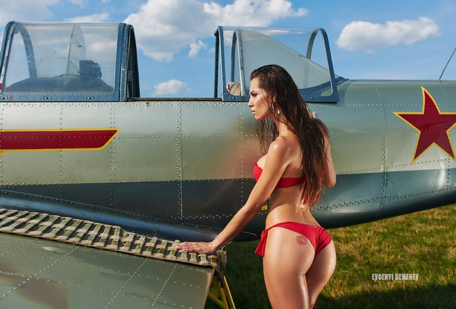 women, planes, airplane, tanned, Evgenyi Demenev, women outdoors, ass, Red Bikini, tattoo, long hair, grass