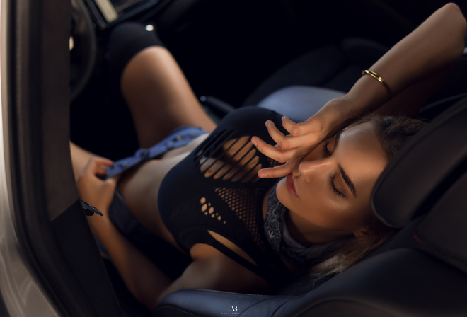 women, Alex Bazilev, tanned, black stockings, women with cars, belly, jean shorts, sitting, closed eyes, blonde