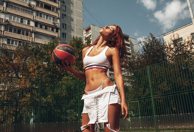 Inga Sunagatullina, women, ball, redhead, closed eyes, white tops, belly, thong, tattoo, building, women outdoors, overalls