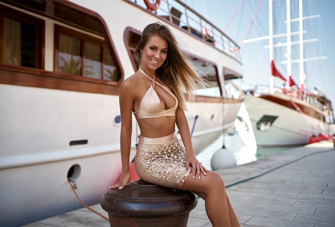 women, tanned, smiling, sitting, portrait, pink nails, boat