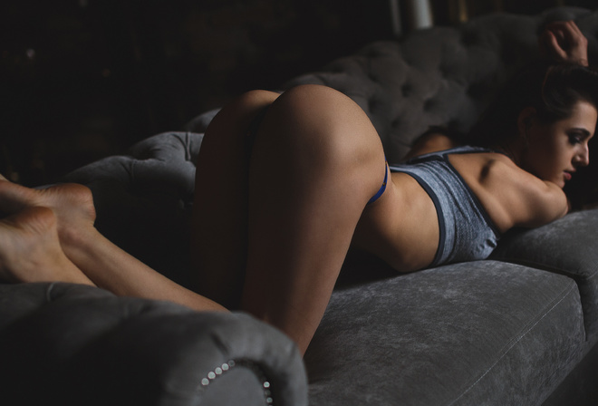 black, women, brunette, ass, sitting, couch, lingerie, bent over, panties, clothing, Solovbev, Alina Naumenko, beaut