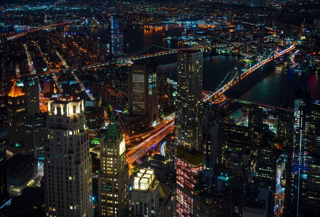 United States, New York, Cityscape, Skyscrapers, Night, Lights
