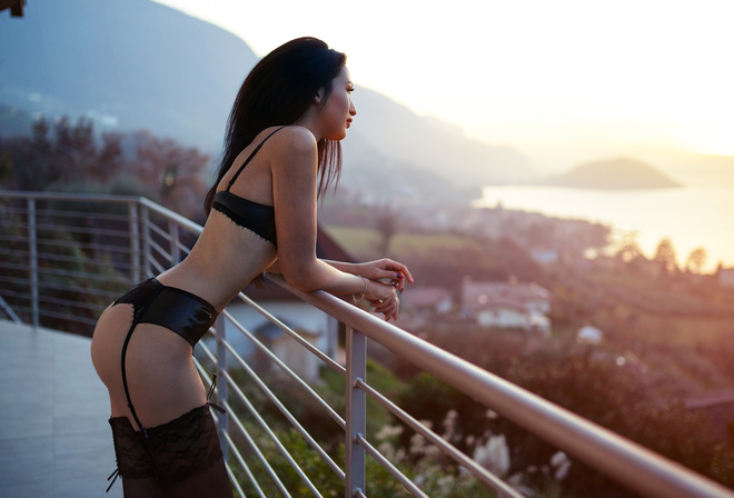 women, Marco Squassina, ass, sunset, garter belt, black lingerie, women outdoors, painted nails, long hair, looking away, balcony