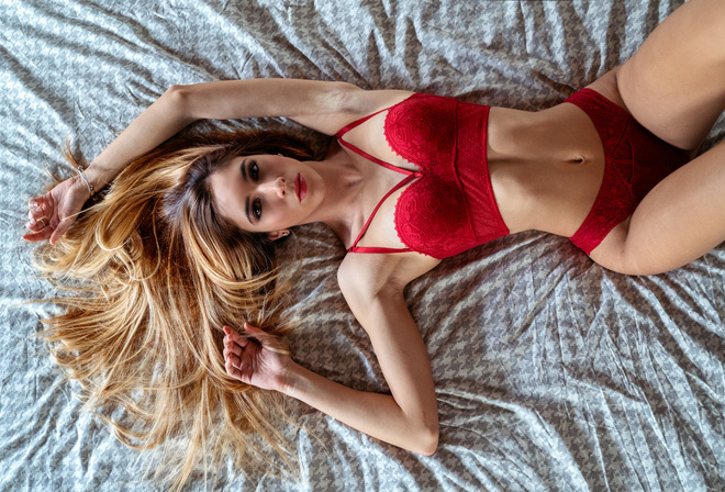 women, Marco Squassina, top view, in bed, armpits, belly, lying on back, red lipstick, blonde, red lingerie, brunette