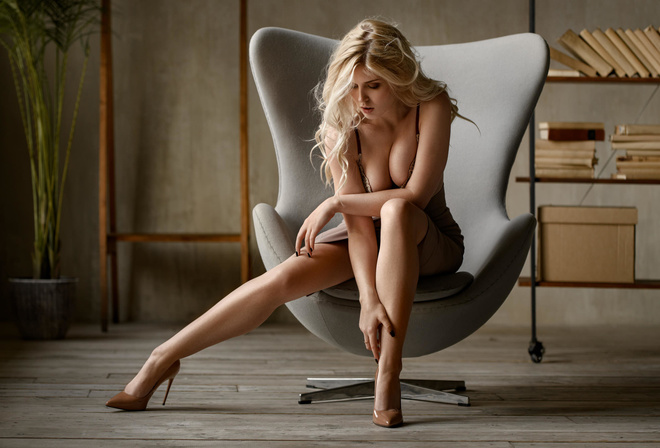 women, Selena Werner, Selena Verner, blonde, dress, chair, brunette, sitting, high heels, black nails, plants, books