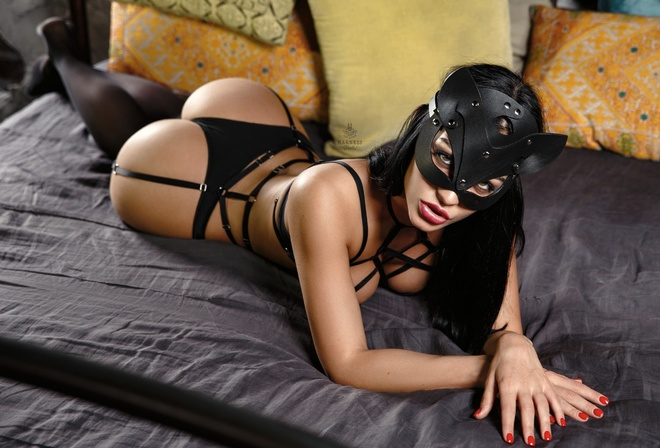 women, ass, brunette, garter belt, red nails, in bed, mask, black lingerie, pillow, lying on front