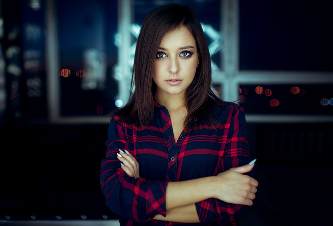 women, portrait, arms crossed, bokeh, plaid shirt, pink lipstick, painted nails